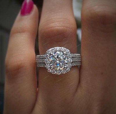 1.50 Ct Round Cut Diamond Engagement Wedding Bridal Set Ring 10k White Gold