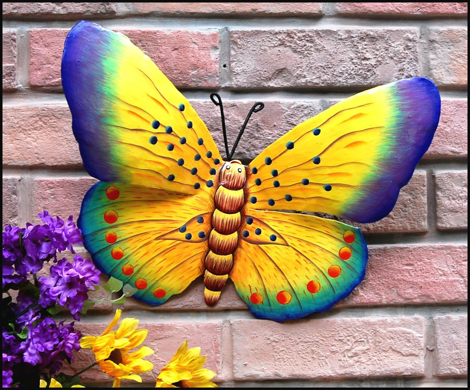 Butterfly Painted Metal Butterfly Art Outdoor Metal Art Painted