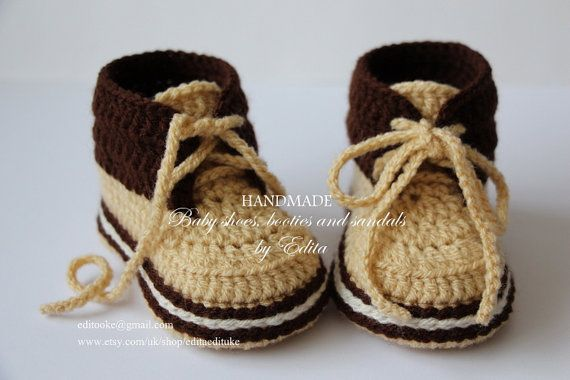 Crochet baby booties, baby shoes, boots, sneakers, golden sand ...