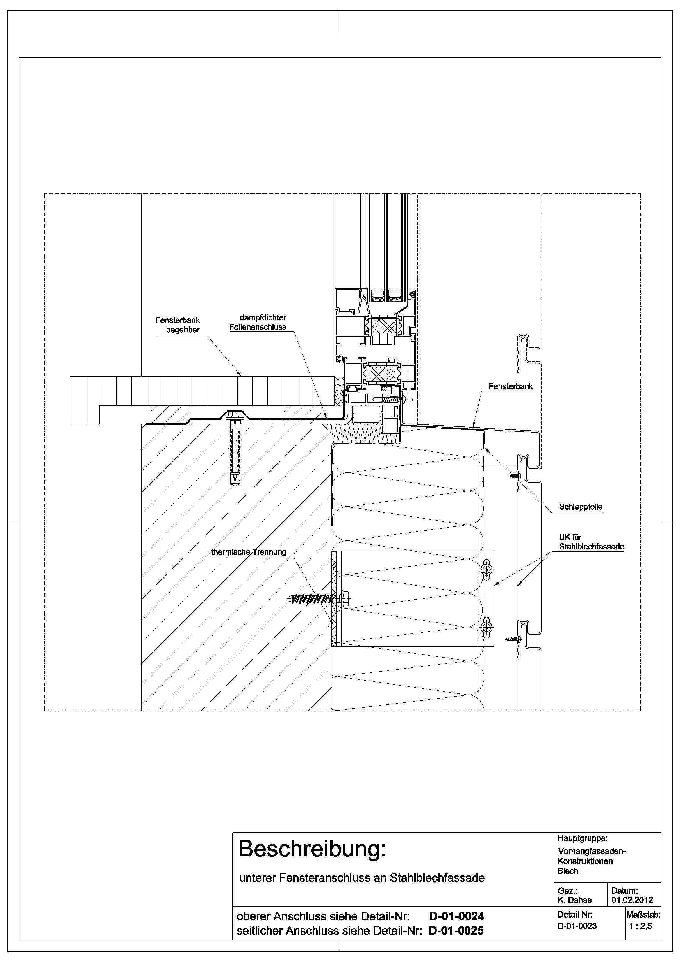 D010023 unterer Fensteranschluss an Stahlblechfassade