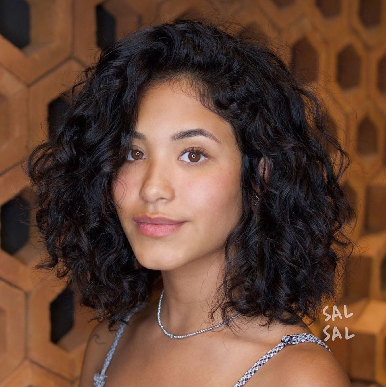 Pretty Curly Black Bob with Side Bangs   Curly hair styles, Curly ...