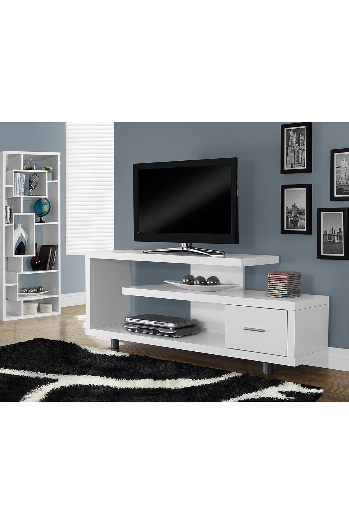 Hollow Core White Tv Console On Hautelook Office Guest Room  # Meuble Console Pour Tv