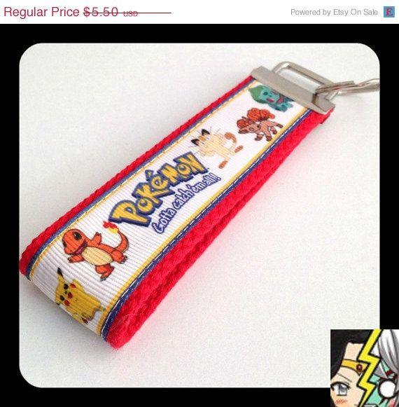 Pokemon Key Chain Keychain Fob with Pikachu Meowth Bulbasaur Charmander Eevee on Etsy, $4.95