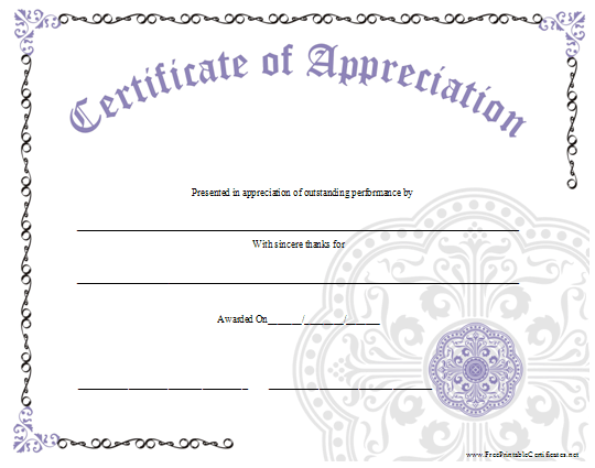 An ornate certificate of appreciation with a large lavender graphic an ornate certificate of appreciation with a large lavender graphic free to download and print yadclub Images