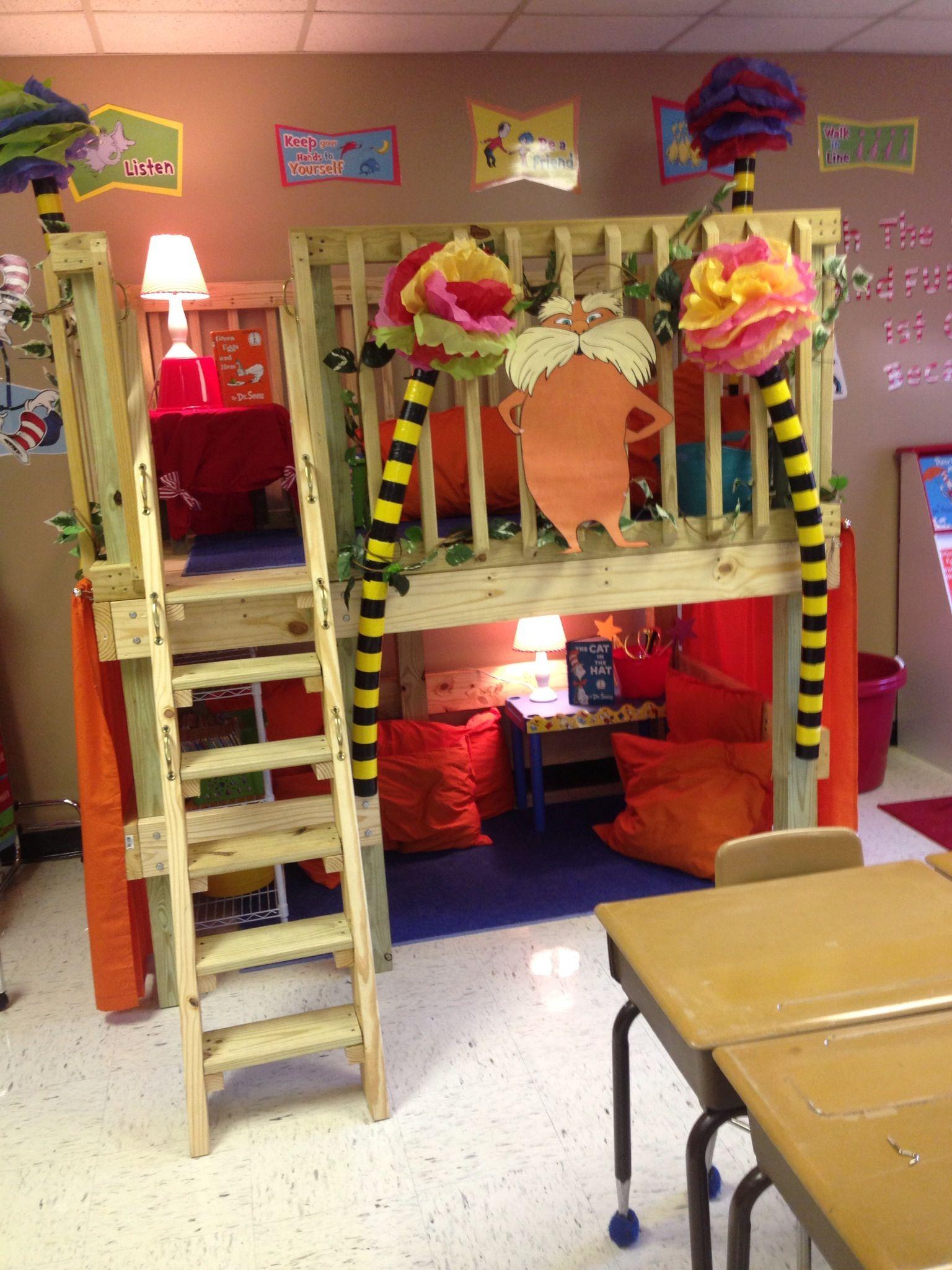 Classroom Loft Ideas : Lorax reading loft dr seuss classroom pinterest