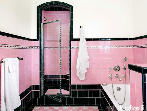 Photo of Two Bathrooms with Bold Tile