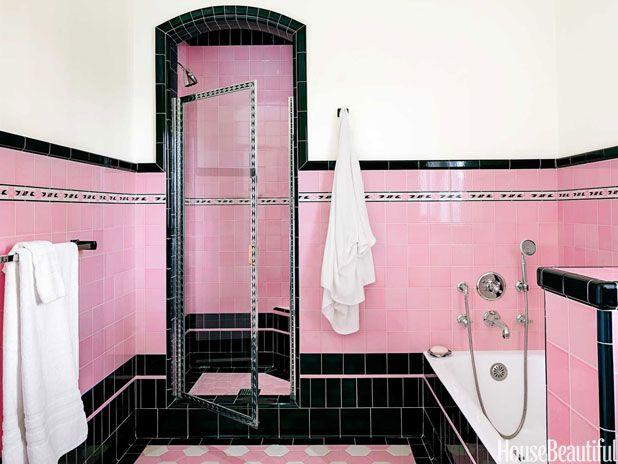 Pink and Black Retro Bathroom | CHANGER DE DECO | Pinterest | Salle ...