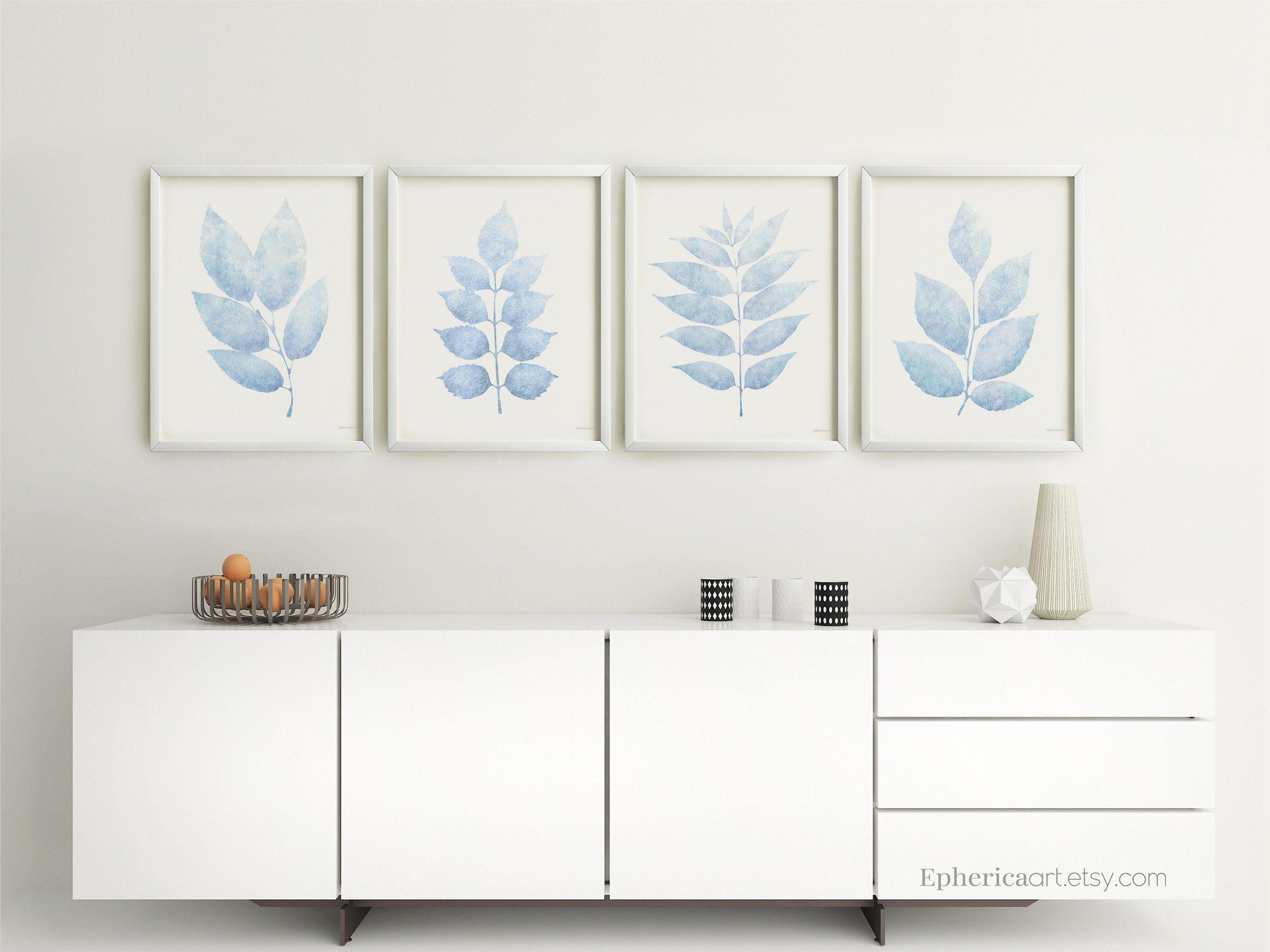 Pale blue leaves prints printable botanical posters downloadice