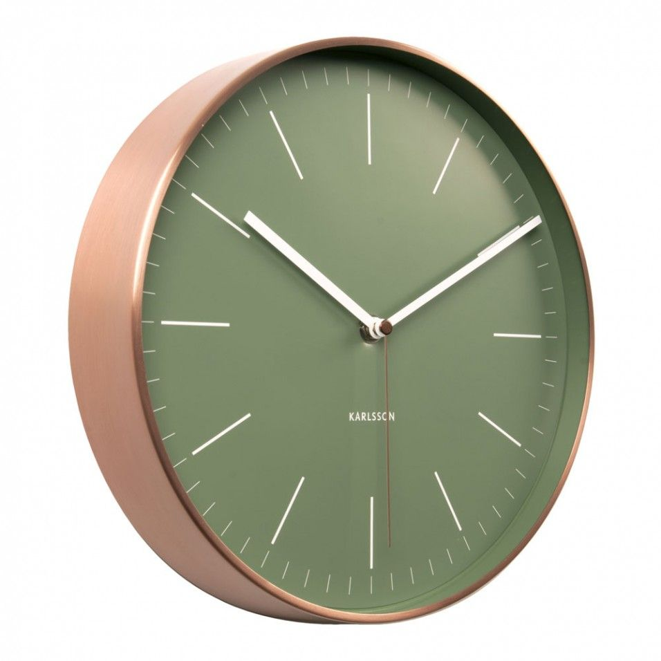 Karlsson Minimal Copper And Green Wall Clock Boutique Collection The Boutique Edit Wall Clock Unique Wall Clocks Green Wall Clocks
