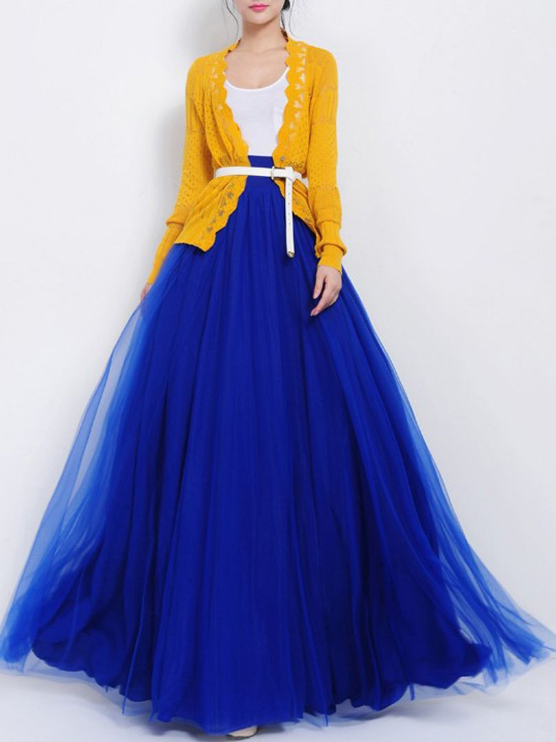 Blue high waist gauze maxi skirt with bow fashion clothes and