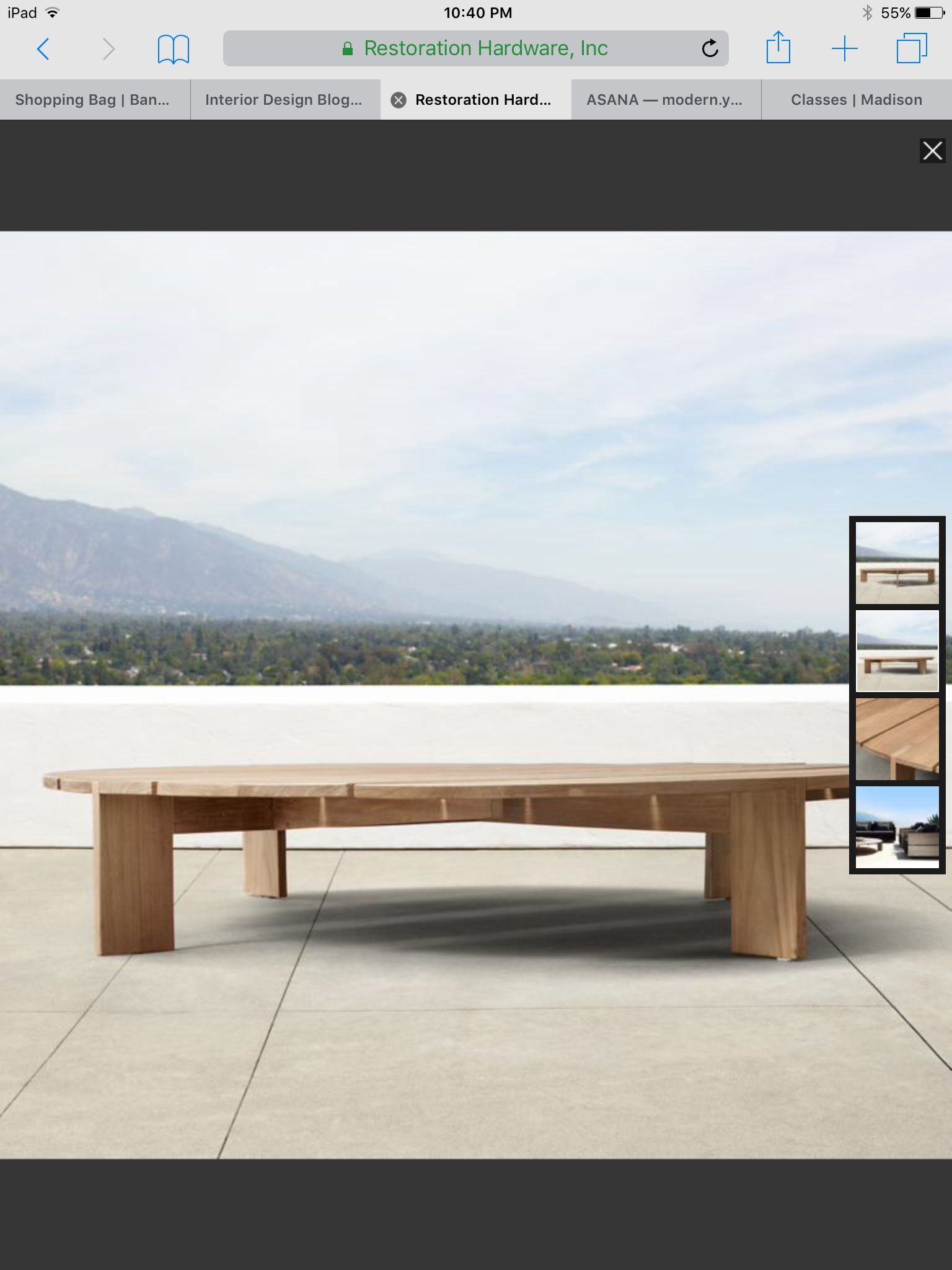RH coffee table Patio furniture Pinterest