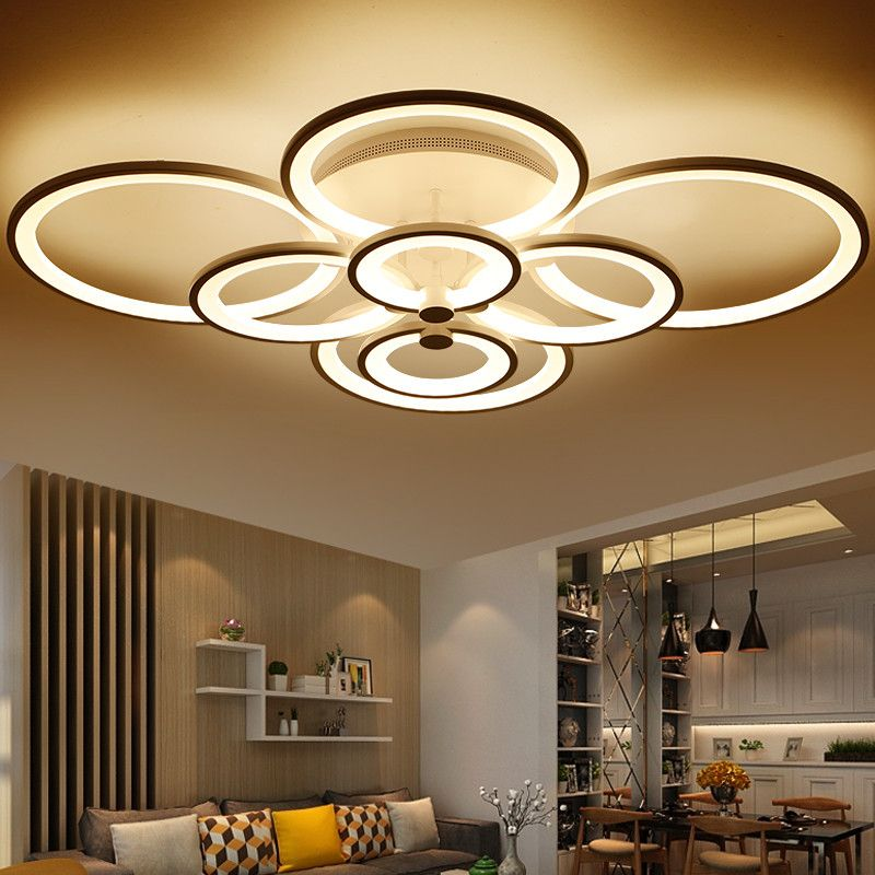 Dimming+Remote Control Living Study Room Bedroom Modern Led Chandelier  White Color Surface Mounted Led