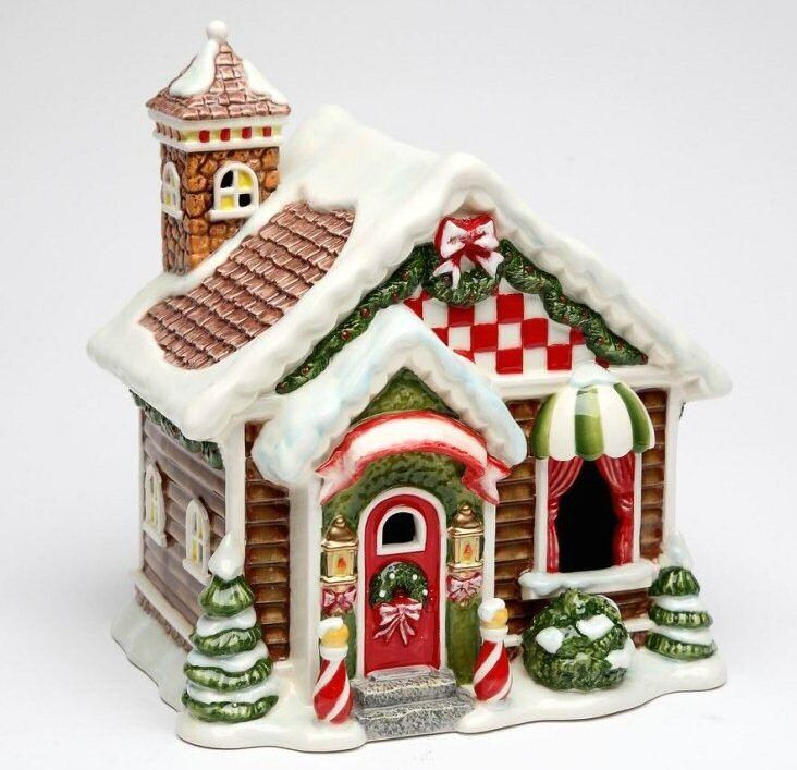 Santa S Village House Led Light Porcelain Sculpture By Laurie Furnell Santa S Village Christmas Light Installation Gingerbread House Patterns
