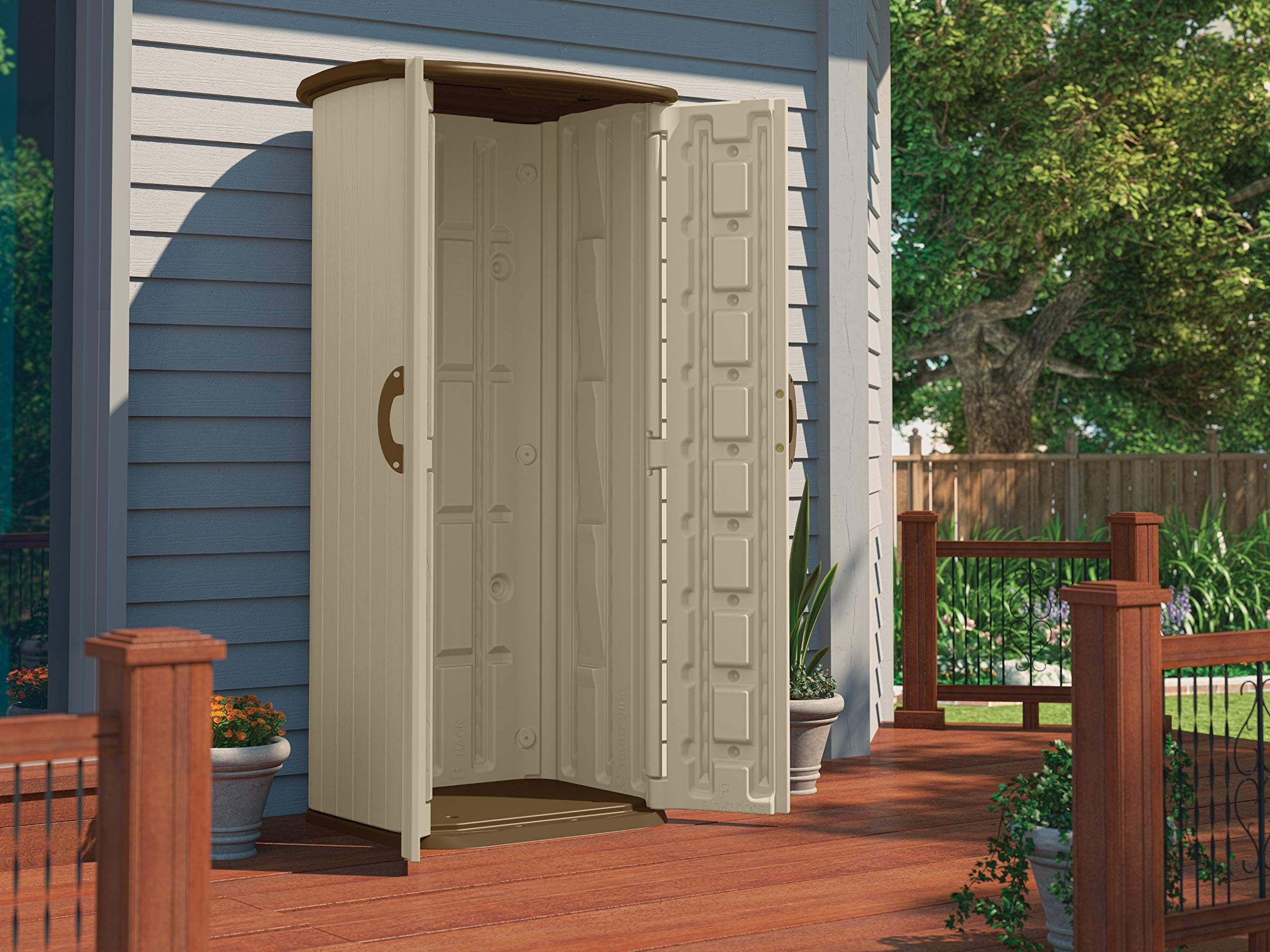 Suncast Vertical Utility Shed Outdoor Storage Shed For Backyards