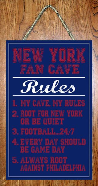 New York Giants Nfl Fan Cave Rules 10 X16 Decor Basement Man Cave Wall Sign Man Cave Wall Man Cave Basement Diy Football Man Cave
