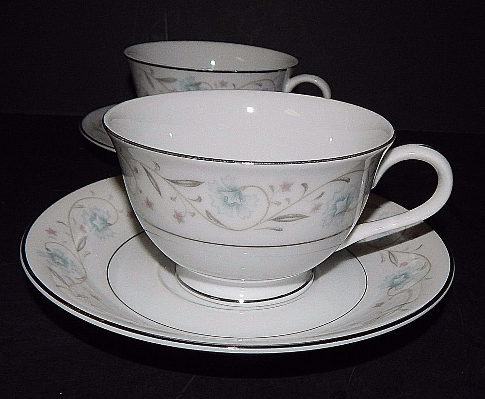 (2) ENGLISH GARDEN 1221 CUP and SAUCER SET Platinum White