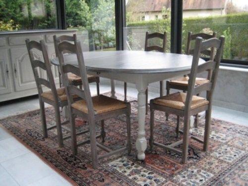 Changement de déco pour une table, enfilade et bibliothèque à Cambes - Renovation Meuble En Chene