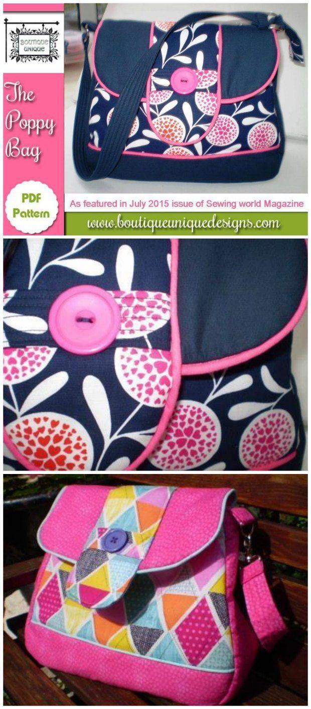 The Poppy Bag pattern | Patchwork-Taschen, Taschen nähen und Diy nähen