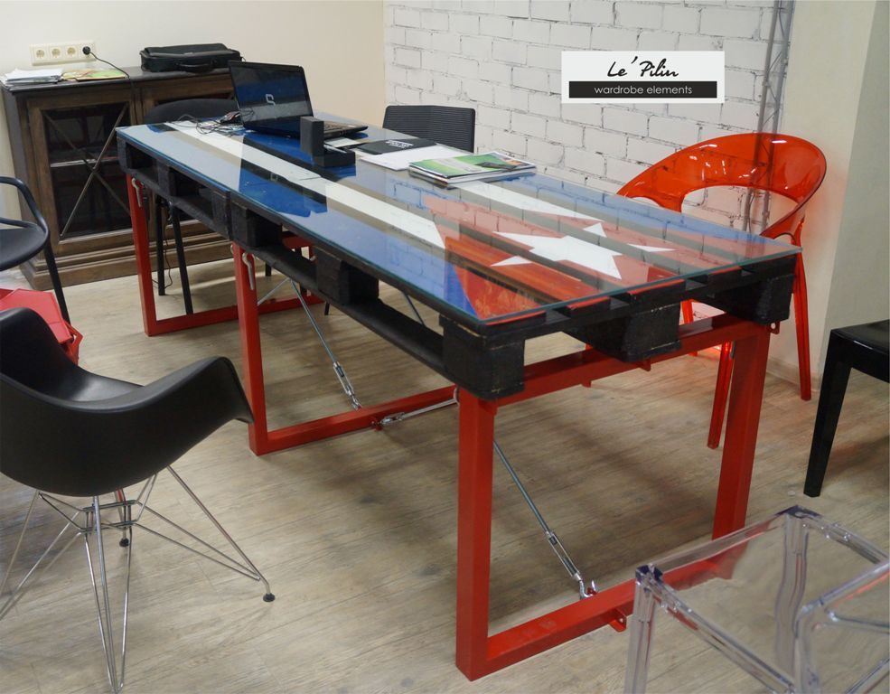 A Large Dining Table. Great Idea Furniture From Pallets, Glass, Wood And  Metal. Industrial ...