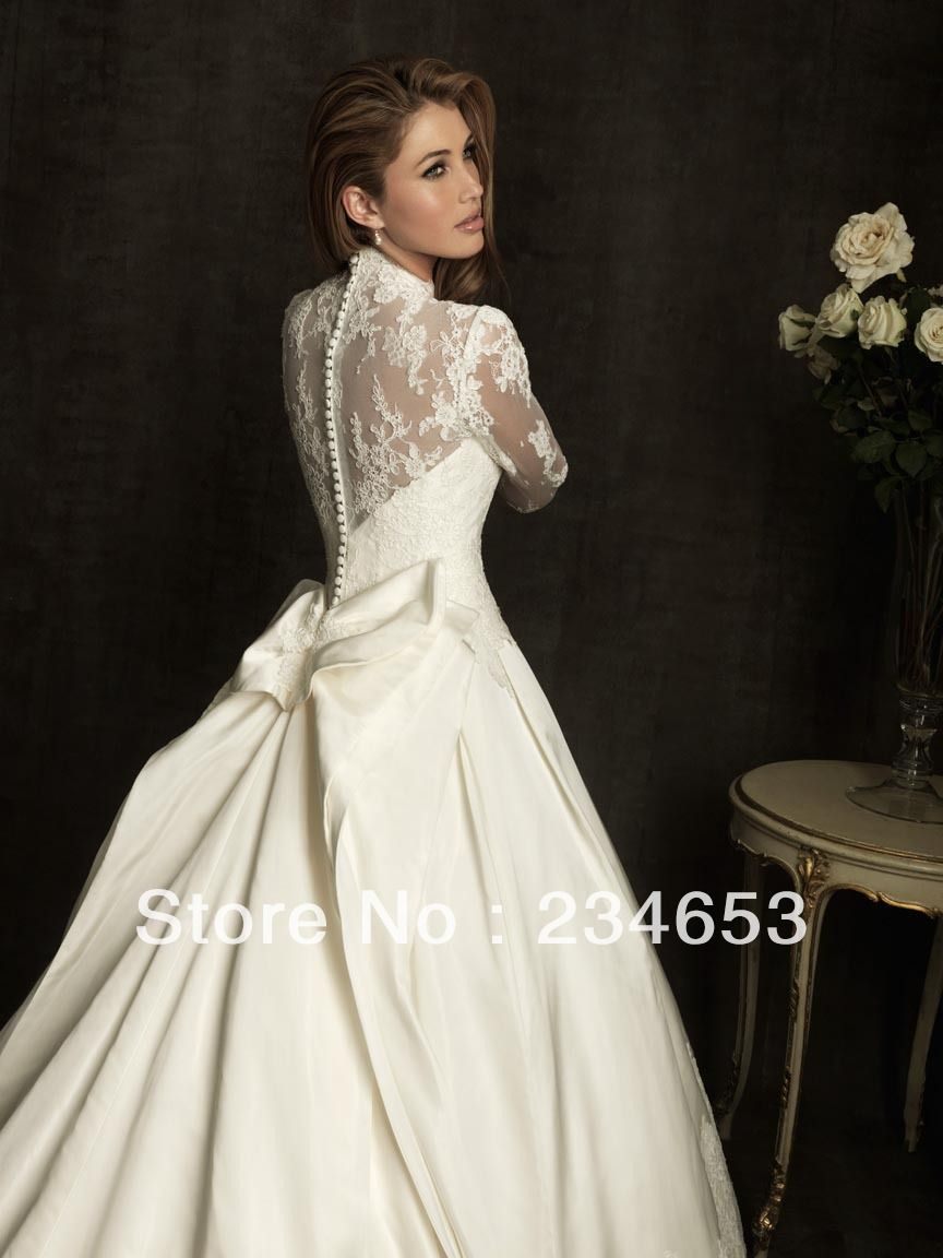 Buy long sleeves lace taffeta ball gown for Purchase wedding dress online