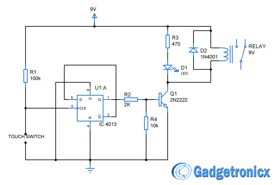 Touch Switch Circuit Diagram Using Flip Flop Gadgetronicx Circuit Diagram Digital Circuit Electrical Engineering Projects