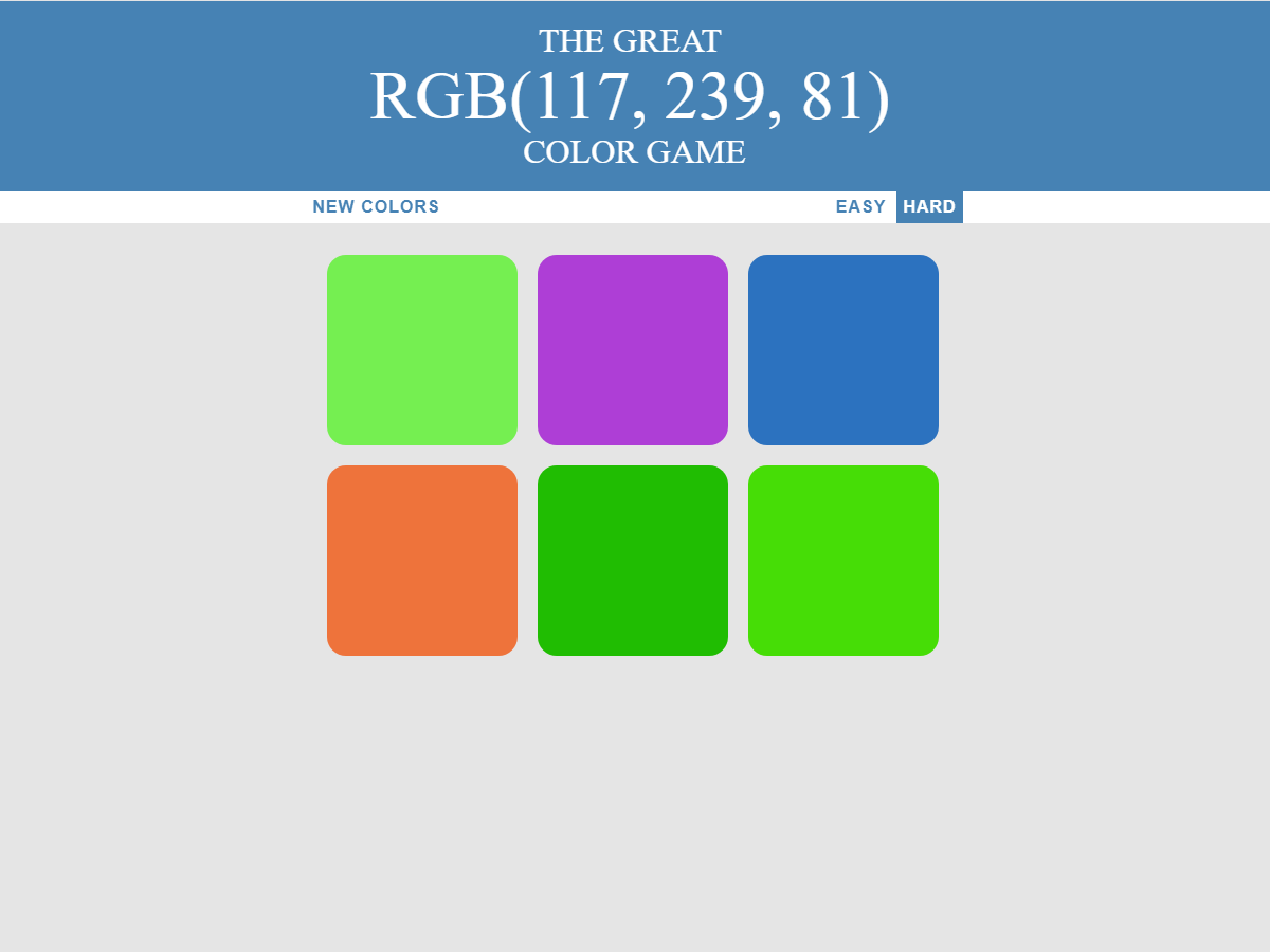 The Great Rgb Color Guessing Game Javascript Css Html Guessing Games Greatful Javascript
