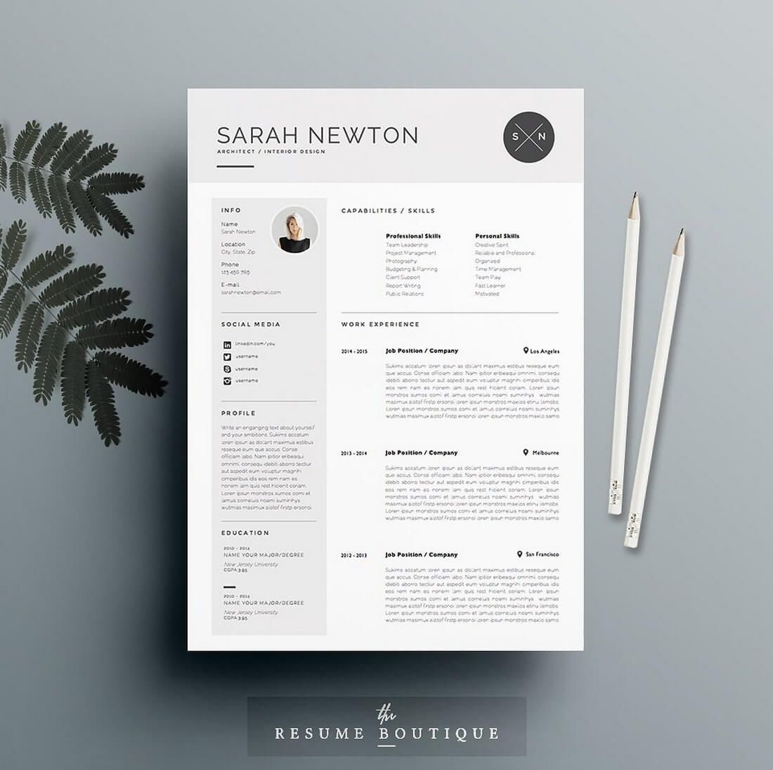 The Best Cv  Resume Templates  Examples  Design Shack