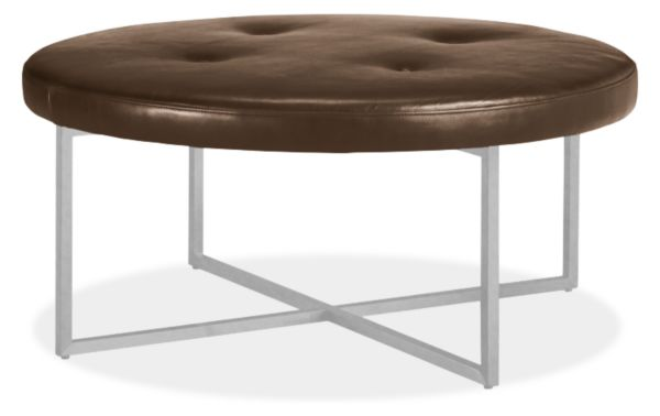 Remarkable Sidney Leather Round Ottomans Products Round Ottoman Alphanode Cool Chair Designs And Ideas Alphanodeonline
