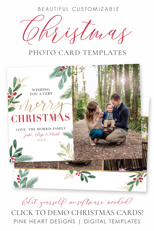 Merry Christmas Card Template 5x7 Photo Christmas Card Etsy Holiday Card Template Christmas Card Template Merry Christmas Card