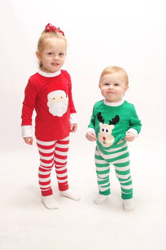 Santa Christmas Pajamas Top And Pants Sets Reindeer Or