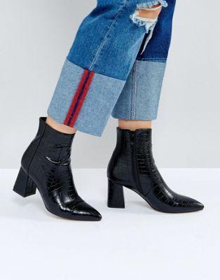 4176c6da368c RAID Sapphire Black Croc Heeled Ankle Boots