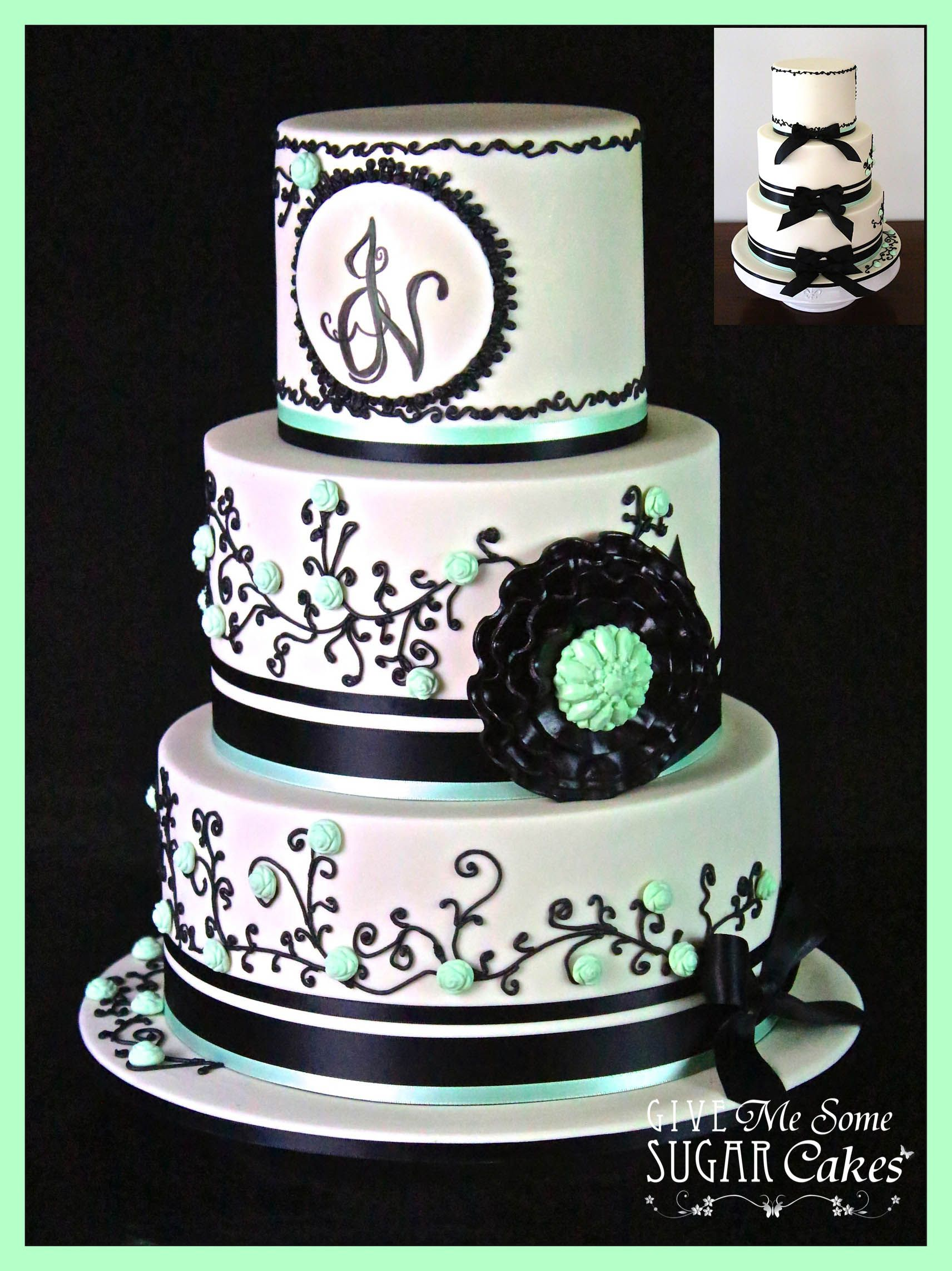 Ivory And Black Wedding Shimmer Cake With Mint Green Highlights To Match The Bridesmaid Dresses Bride Groom Sent Me A