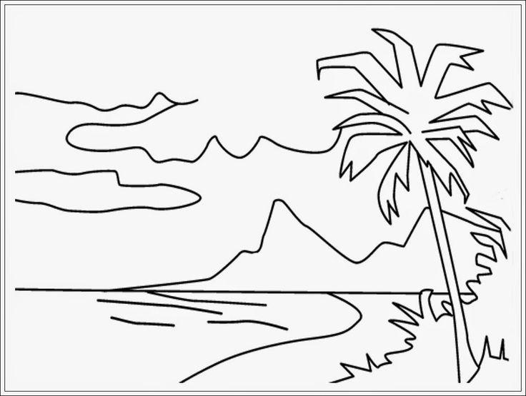 Gambar Mewarnai Pemandangan Alam Pantai Hitam Putih Berkunjung Yuk