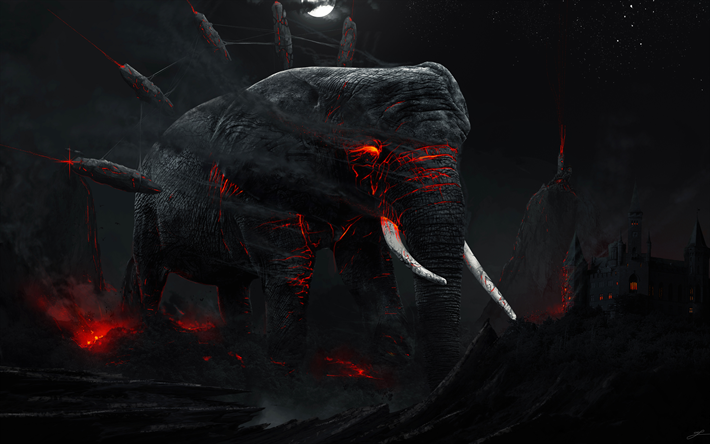 Download Wallpapers Monster 4k Elephant Darkness Night Castle Besthqwallpapers Com Elephant Creative Graphics Hd Wallpaper