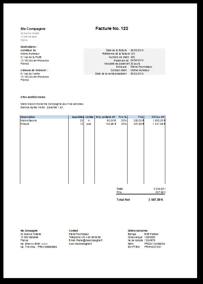 Apercu Modele Gratuit Facture Excel Modele Facture Modele De Facture Gratuit Modele Facture Excel