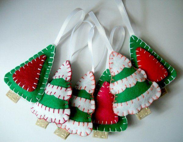 DIY Felt Christmas ornaments ideas handmade ornaments traditional
