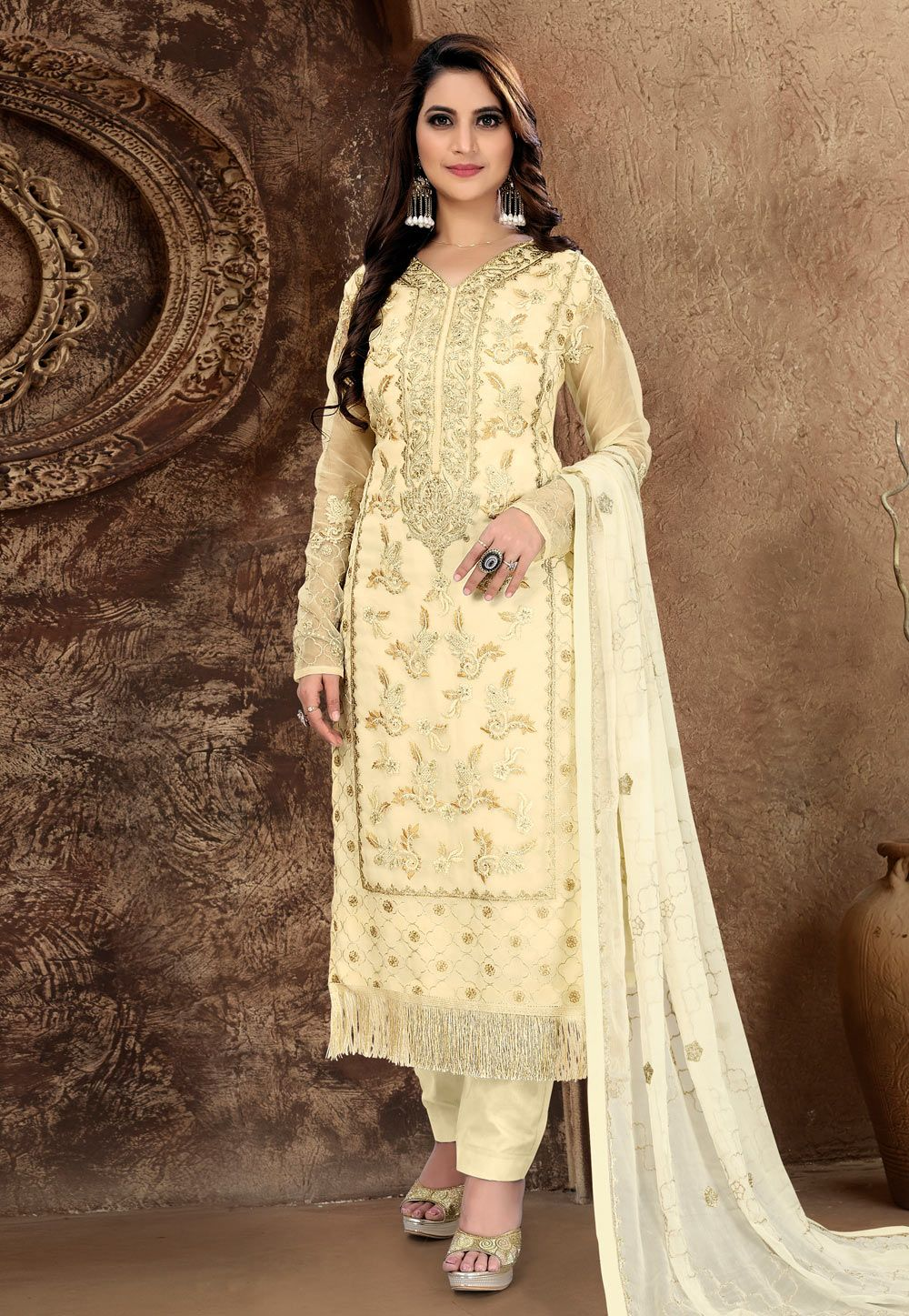 72038ce04c Buy Light Yellow Tissu Embroidered Pant Style Suit 169577 online at lowest  price from huge collection