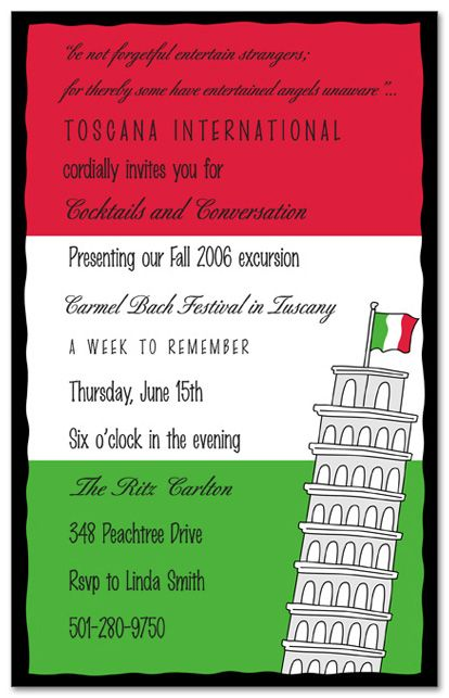 Travel Destination Invitations Pisa Italy Italian Party