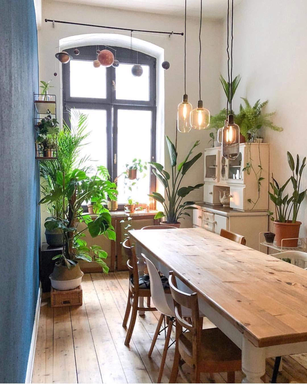 Salle à Manger, Mobilier En Bois Et Touche De Verdure Pour