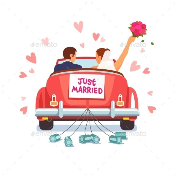 Newlywed Couple Driving Car For Honeymoon Just Married Just Married Sign Just Married Car