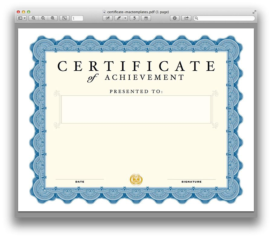 56 Free Custom Certificate Templates Apple Mac Pages In Certificate Template For Pages Training Certificate Certificate Templates Certificate Template