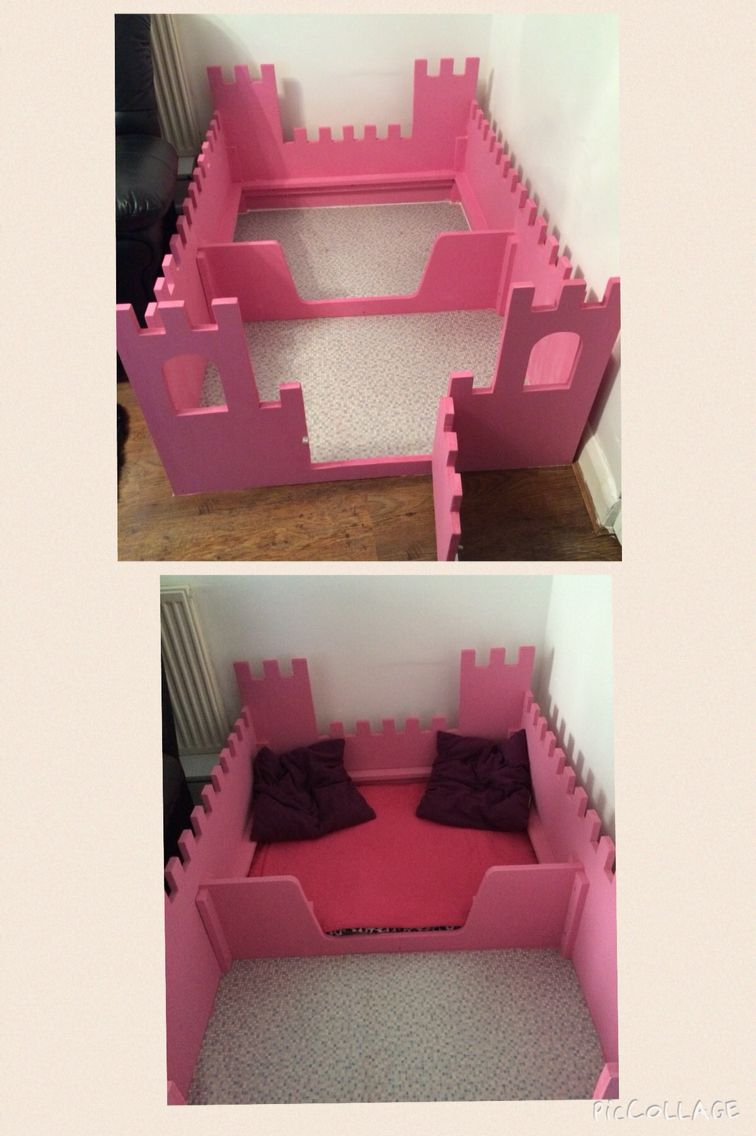 Homemade pink castle whelping box                                                                                                                                                                                 More