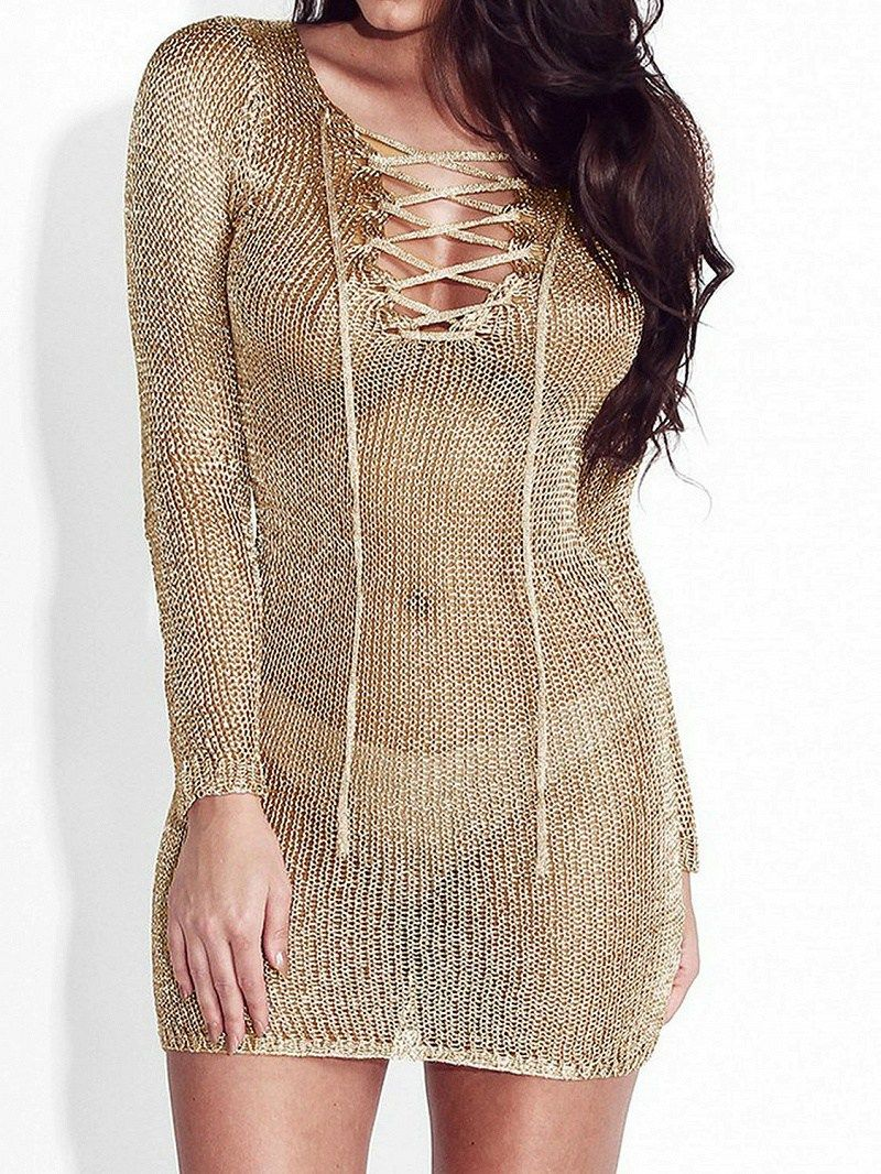 Gold metallic laceup front long sleeve bodycon dress lingerie