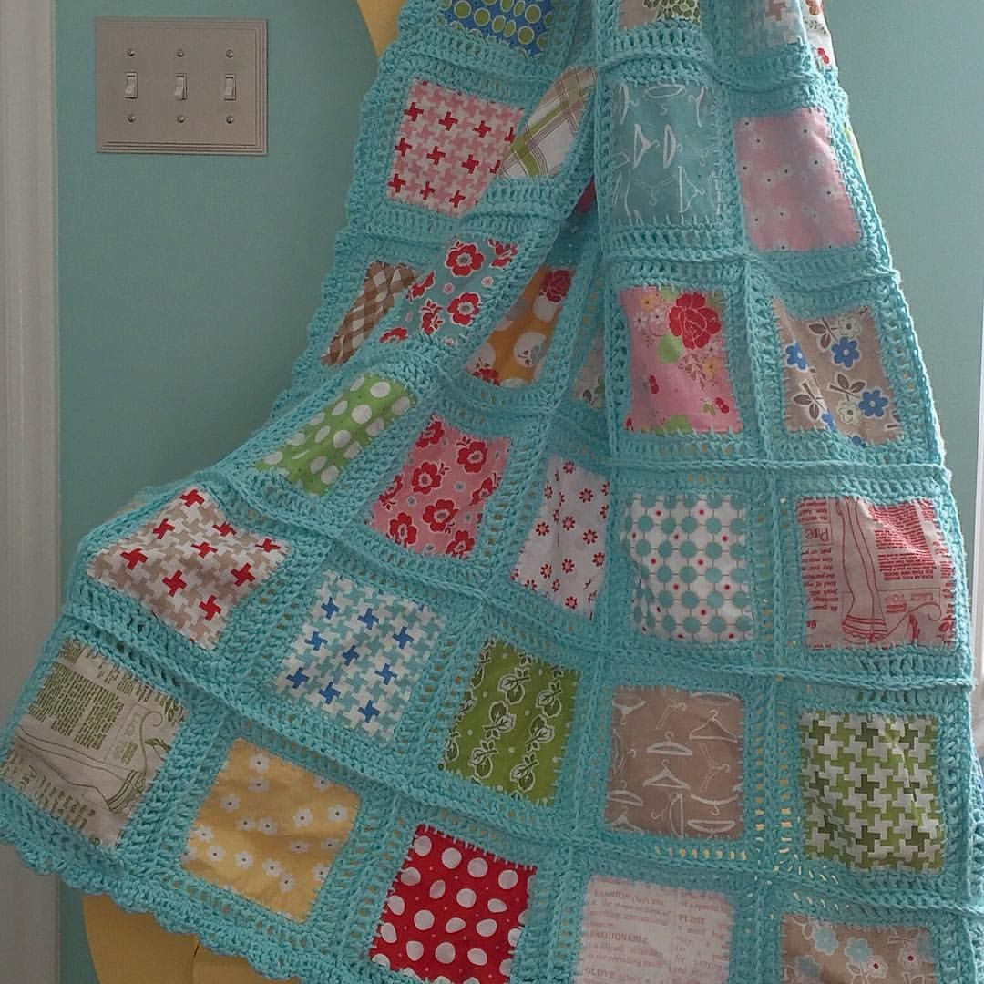 """Love this. (So many pretty projects. Not enough years to do them all!). ... is a quilty/crochet project that she did four years ago on her blog. She sewed 5"""" squares of fabrics together...turned them right side out and did a button hole stitch around each one for the base of the crochet....full tutorial is on her blog from 2012... Just google Bee in my Bonnet Fusion Blanket Crochet:)"""