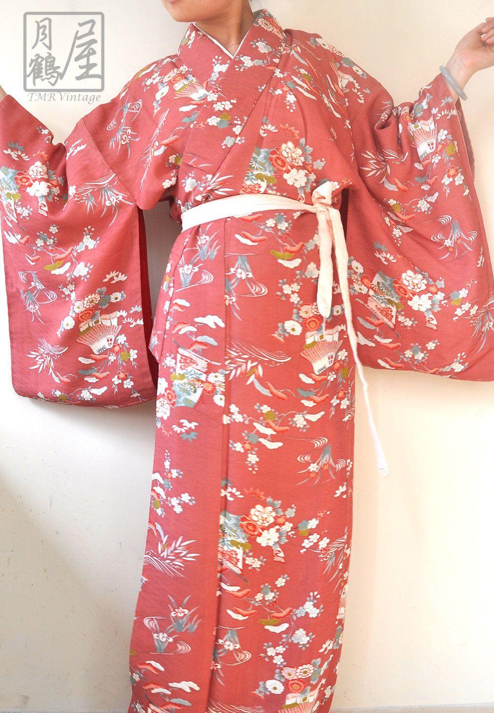 b0f8cc270 Women's silk long kimono robe/japanese vintage maxi kimono gown dress/full  length komon