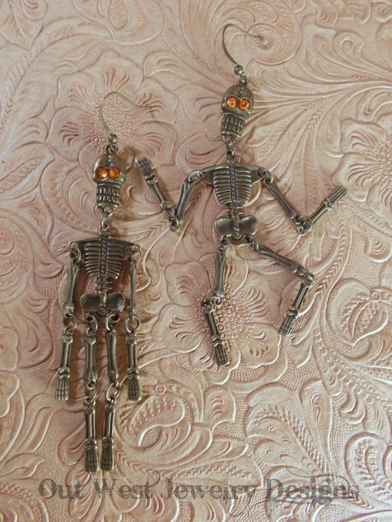 Skeleton Earrings  Antiqued Brass Jointed Skeletons with Swarovski Crystal eyes by Outwestjewelry