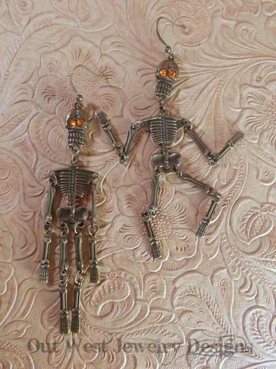 Skeleton Earrings  Antiqued Brass Jointed Skeletons with Swarovski Crystal eyes by Outwestjewelry