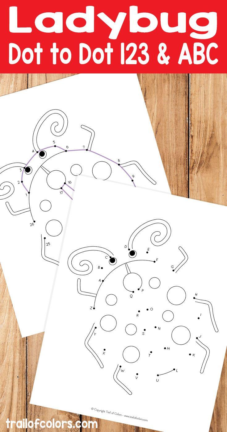 Ladybug Numbers And Alphabet Dot To Dot Worksheet Ladybugs Preschool Ladybugs Kindergarten Dot Worksheets [ 1400 x 735 Pixel ]
