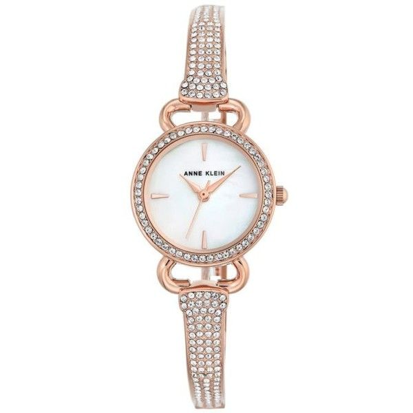 Anne Klein Rose Gold Rose GoldTone Round Crystal Bangle Watch