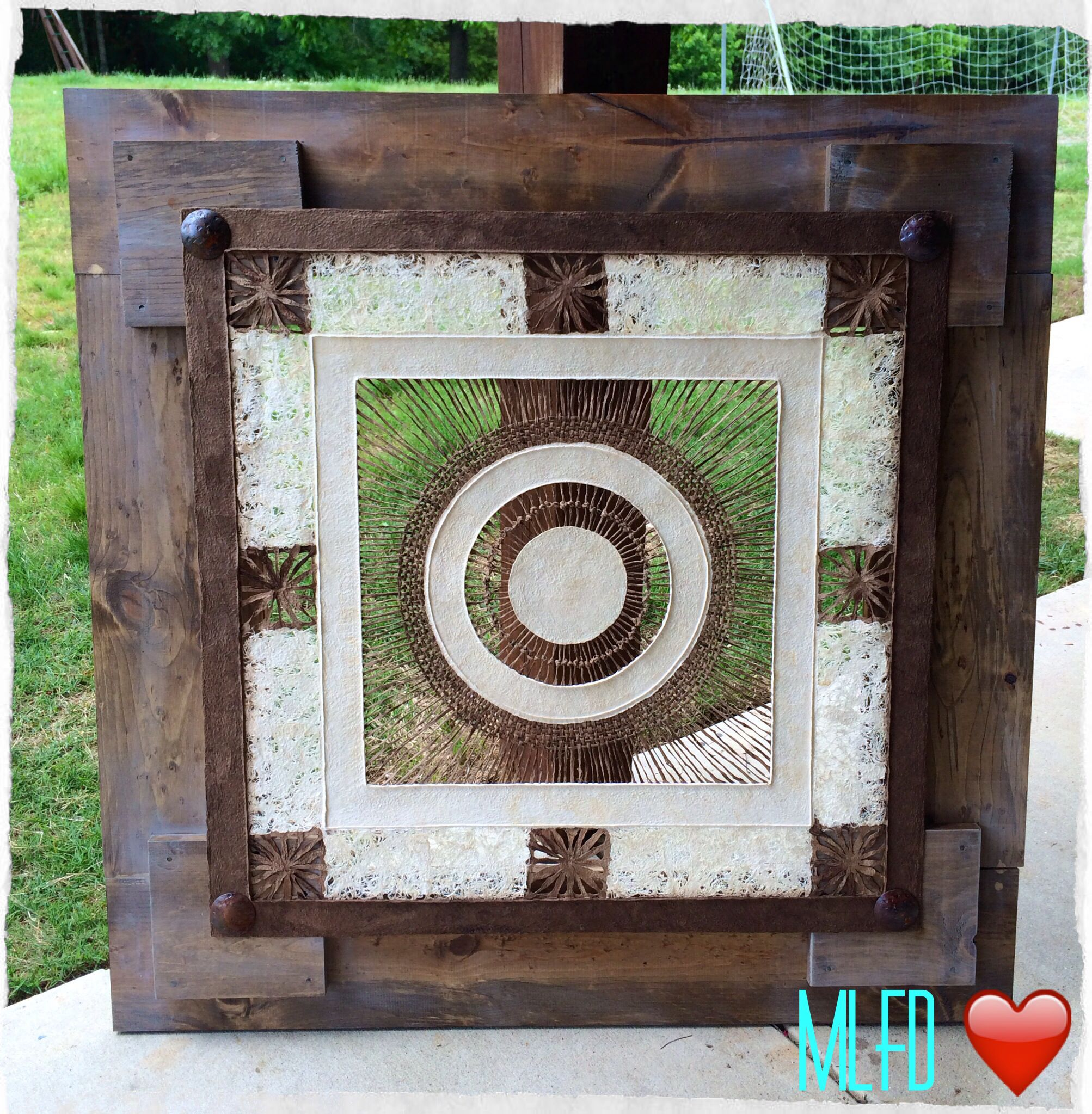 "One of a kind wall Art with beautiful wooden frame distressed and antiqued and rusted metal nail heads details 41"" x 41"" $350 interested send me a message!"